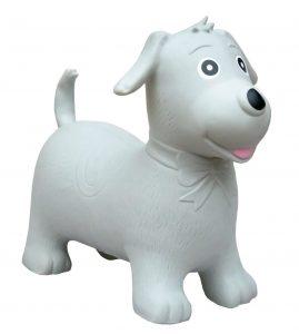 Weißer Hüpftier Hund