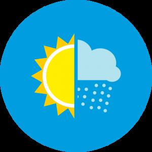 Icon mit Sonne und Regenwolke